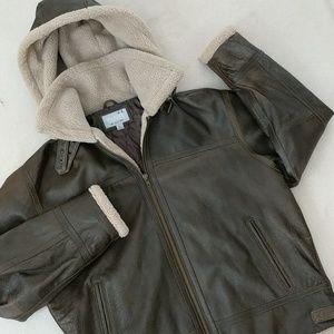 M Julian Sherpa hooded Leather jacket men's size L